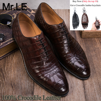 Crocodile Shoes Men Dress 100% Genuine Leather Brand Designer Party Wedding Luxury Men's Oxford Casual Formal Alligator Shoes luxury brand designer genuine leather mens wholecut oxford shoes for men black brown dress shoes business office formal shoes