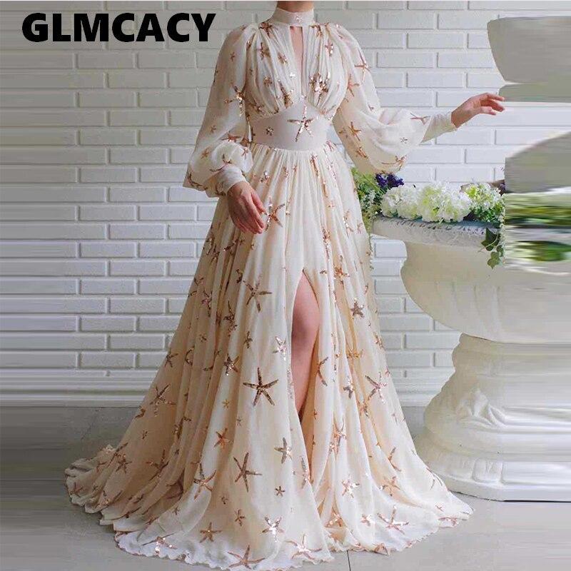 Женское платье макси с высоким разрезом и высоким воротником, элегантное платье-туника с блестками, стильное длинное вечернее платье для ве...