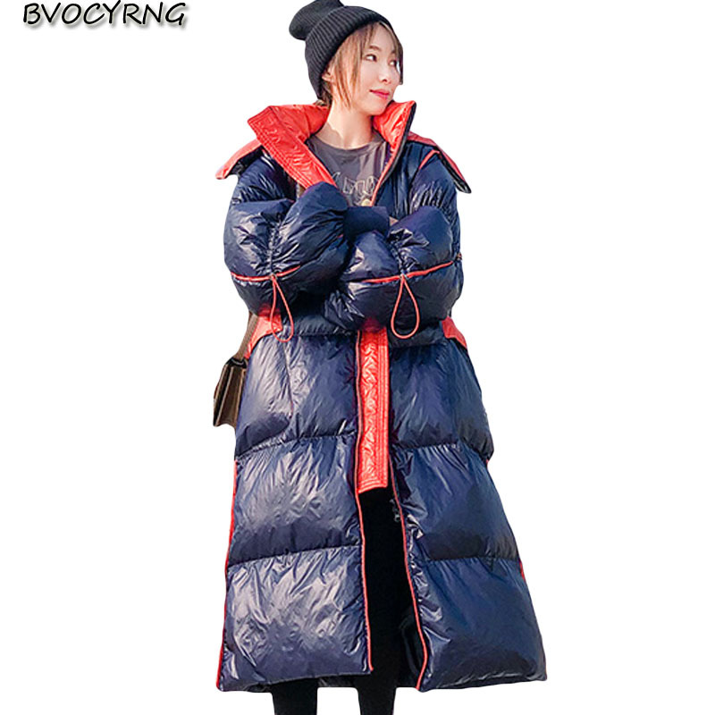 Fashion hooded   down     coat   Women's long loose parka 2019 winter New Korean big   coat   Women's high -end thick warm overcoat A1473