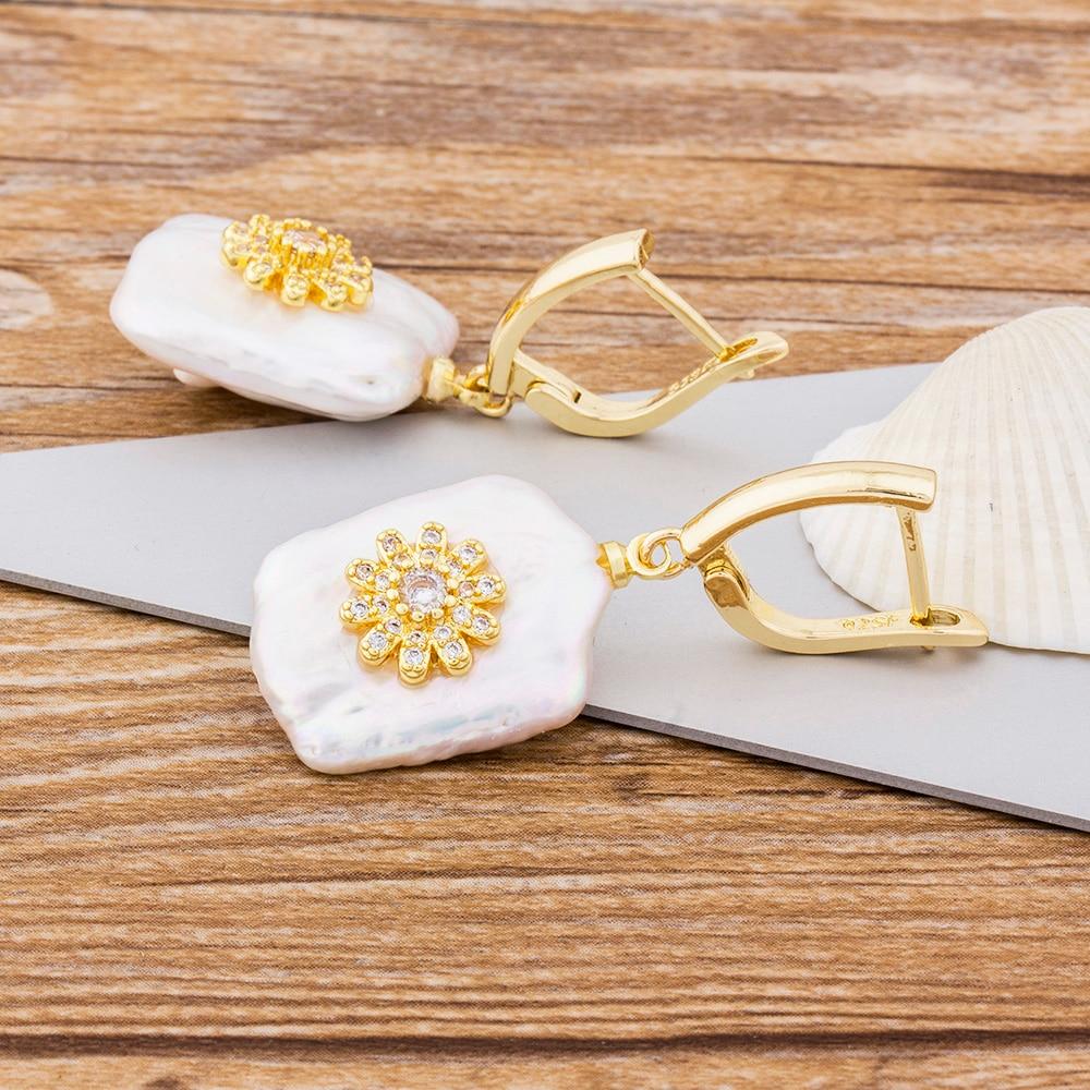 Flower Zirconia Natural Freshwater Pearl Drop Earrings Gold Color Charm Dangle Earrings For Women Girls Wedding Birthday Gift