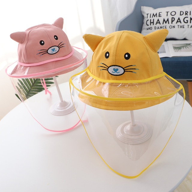 Baby Kids Bucket Hat Boys Girls Cap Protective Face Shield Cover Mask Detachable Sun Hats Anti Saliva Dustproof Fisherman Caps 4