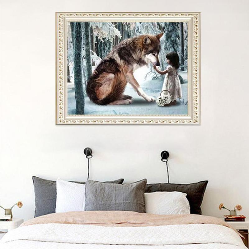 Série lobo completo diamante redondo diamante quadrado