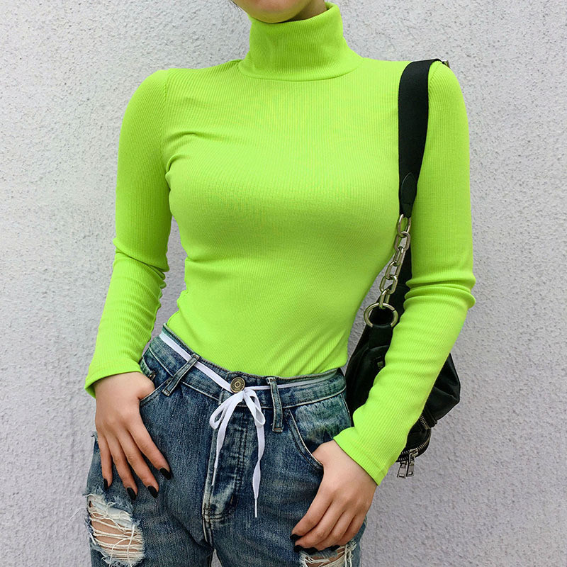 Neon Women Knitted Turtleneck Long Sleeve Fluorescent Green Jumpers High Neck Winter Tops Sexy Elastic Shirts Pullovers M0243