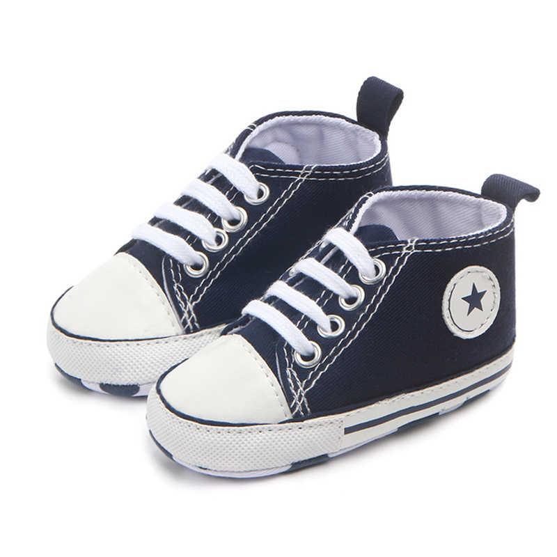 Yeni tuval klasik spor ayakkabı yenidoğan bebek erkek kız ilk yürüyüşe ayakkabı bebek Toddler yumuşak Sole kaymaz bebek ayakkabı