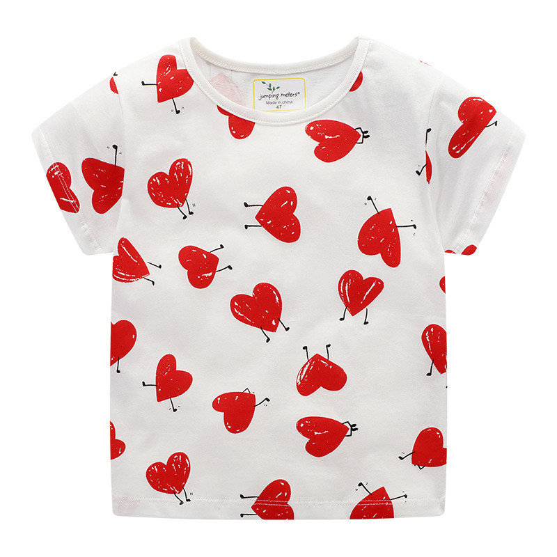 Jumping Meters New Arrivals Summer Cartoon T Shirts For Baby Boys Girls Printed Red Heart Fashion Children Clothes 2-7T 2020