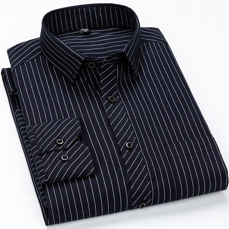 Men Business Casual Long Sleeved Shirt Classic Striped Male Social Dress Shirts Slim Fit Large Size 2XL 3XL 4XL Purple