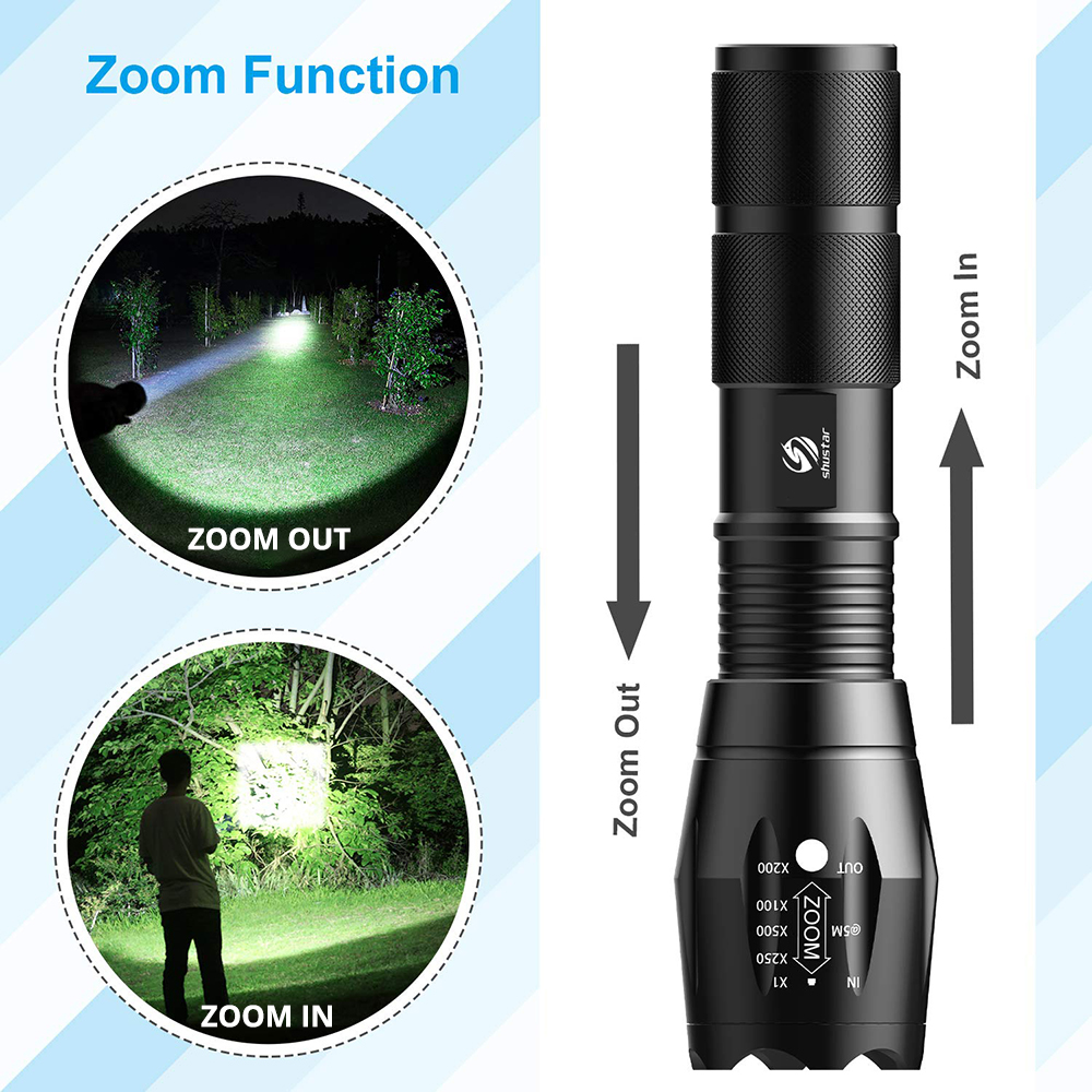 Shustar Led flashlight Ultra Bright torch L2/V6 Camping light 5 switch Mode waterproof Zoomable Bicycle Light  use 18650 battery 3