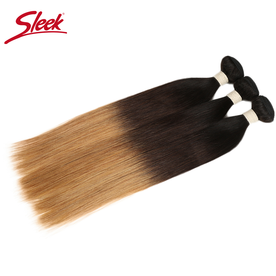 Sleek Ombre Brazilian Hair Straight T1B/4/27 Human Hair Weave <font><b>Bundles</b></font> Deal Non Remy Hair 1 Piece Weft Extensions 12 to <font><b>22</b></font> <font><b>Inch</b></font> image