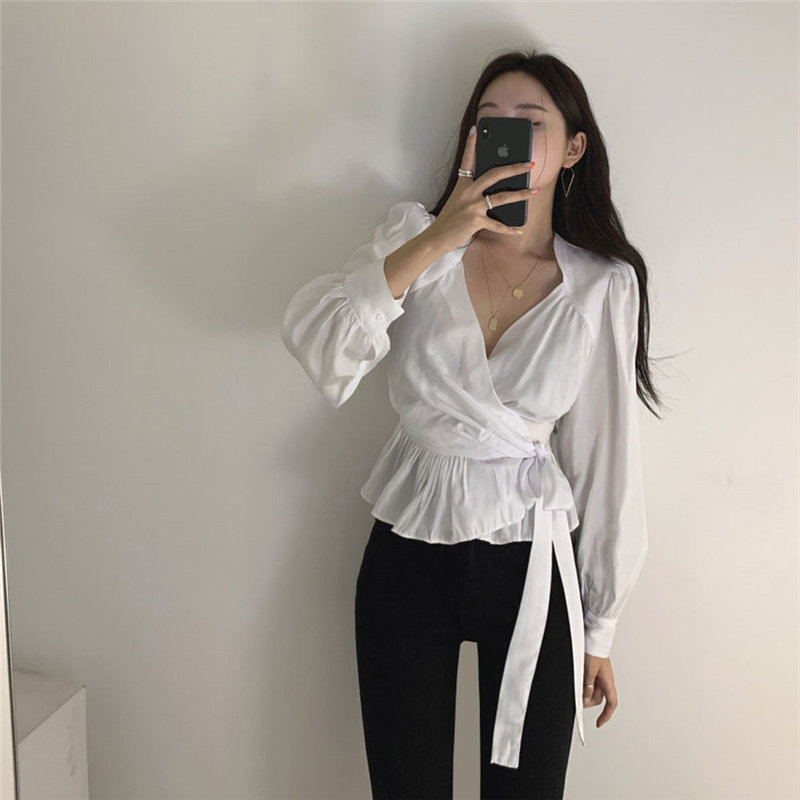 Alien Kitty 2020 Vintage Stylish Spring V-Neck Slim Waist-Controlled Women High Waist Ruffles Shirts Office Lady Hot Blouses