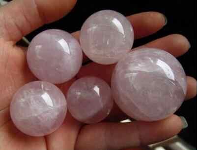 5 stücke 24-35mm Madagaskar tief rosa rose quarz bergkristall kugel