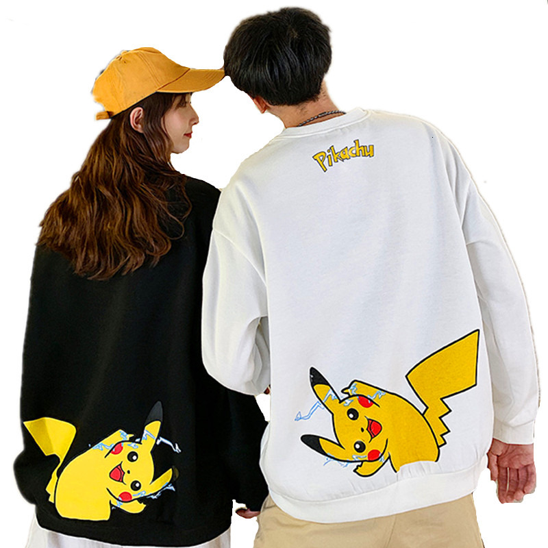 Hoodies Unisex Black White Couple Pokemon Hoodie Jumper Men Women Casual Long Sleeve O-Neck Pikachu Printed Lover Sweatshirt