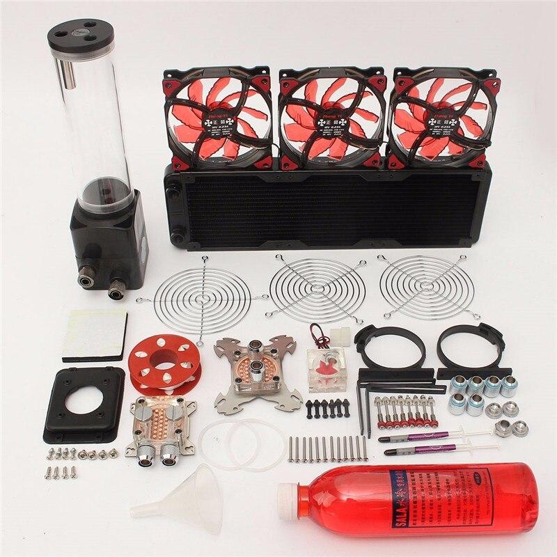Bricolage PC Kit de refroidissement par eau avec réservoir 220mm CPU système de refroidissement par eau Kit ordinateurs radiateur pompe réservoir dissipateur de chaleur