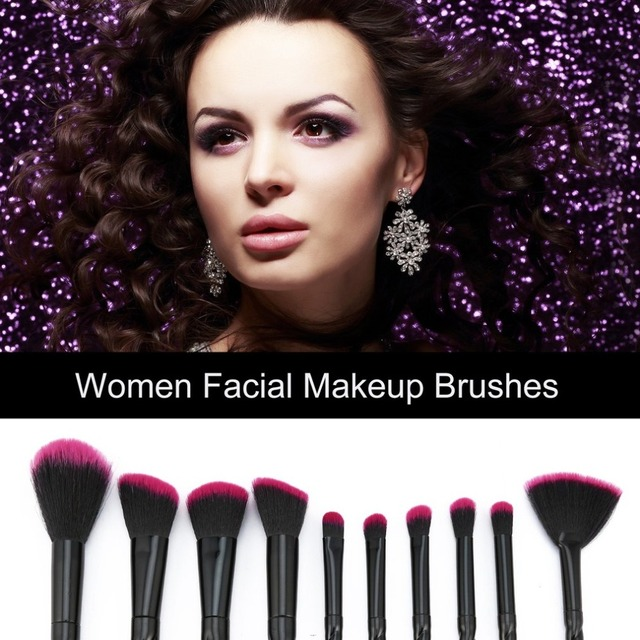NEW BLACK+RED 10PCS/SET Spiral Design Plastic Handle Beauty Makeup Brushes Cosmetic Foundation Powder Blush Make Up Brush Tool 3