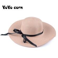 YOYOCORN Summer Straw Hat Women Big Wide Brim Beach Sun Foldable Block UV Protection Panama
