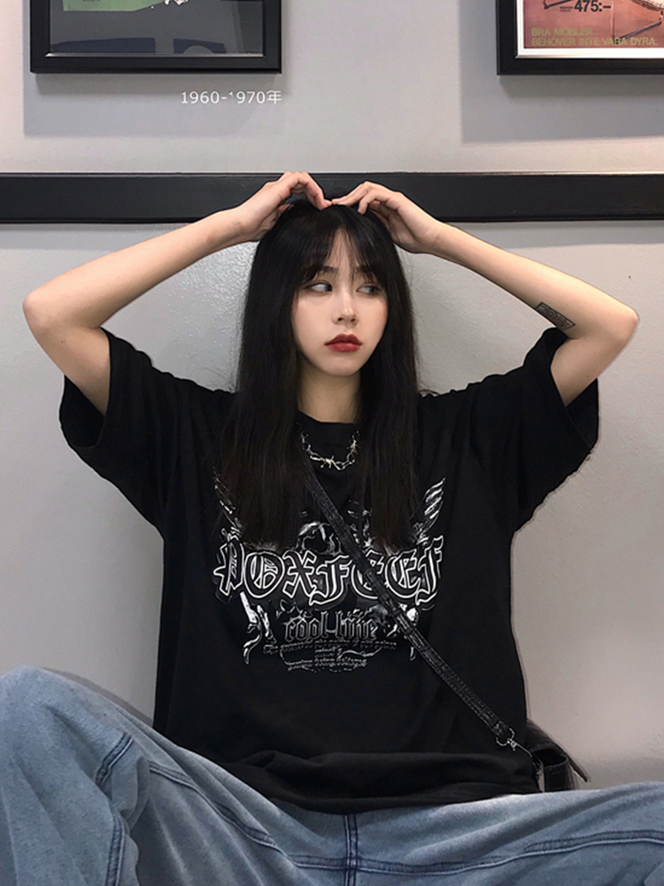 2019 Spring And Summer New Harajuku Style Loose Dark Hip Hop Black Short-sleeved T-shirt