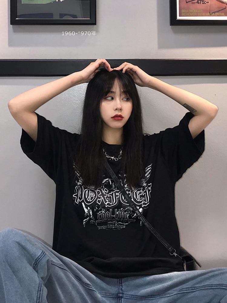 2019 Spring And Summer New Harajuku Style Loose Dark Hip Hop Black Short-sleeved T-shirt