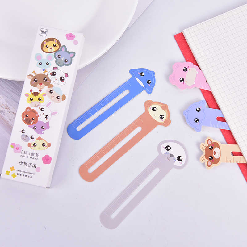 30pcs / lot Cute Animal Paper Ruler Bookmark for Books Clips Book Markers Stationery School Office Supplies