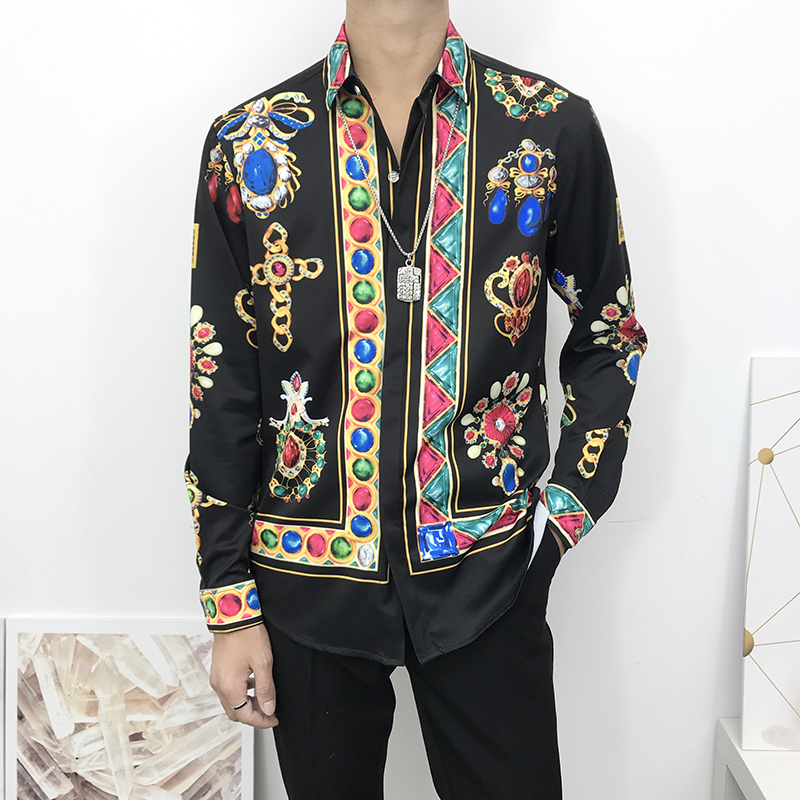 Seestern Brand New Men's Shirt Printed With Multicolored Gemstone Cross Fashion Blouse Leisure Long Sleeve Business Street Trend