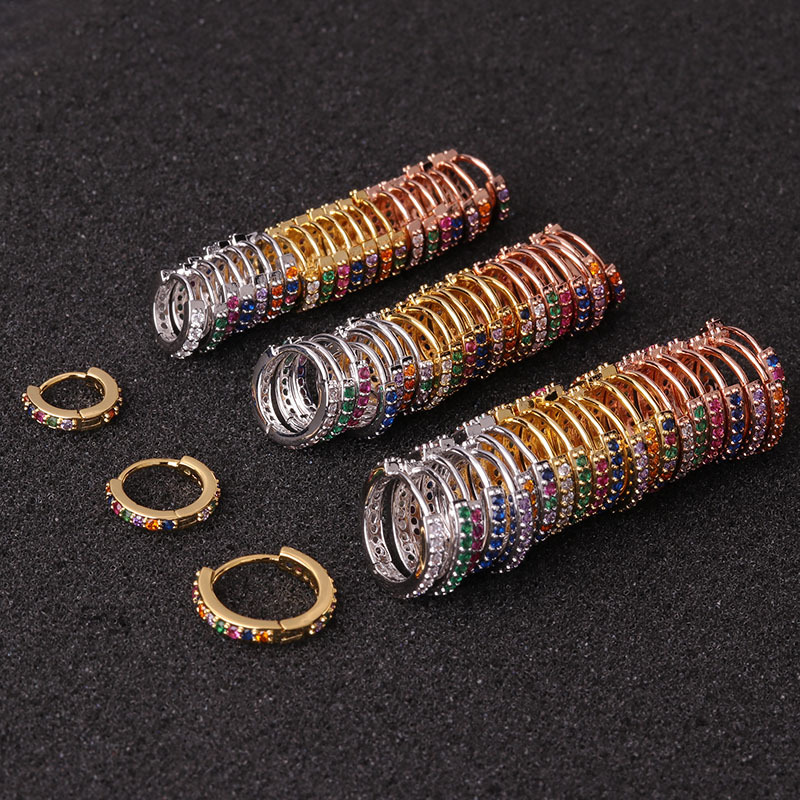 1pc 6mm/8mm/10mm Surgical Steel Rainbow CZ Conch Hoop Cartilage Helix Nose Ring Piercing Earring