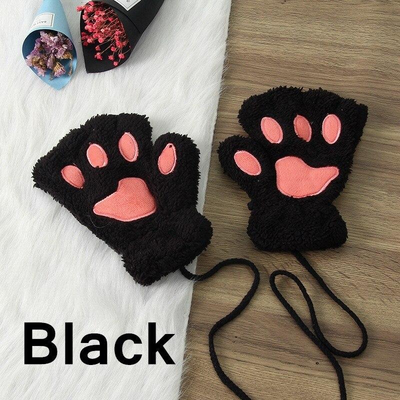 Зимние теплые перчатки женские Красивая кошачья лапа коготь плюшевые варежки короткие перчатки женские зимние перчатки без пальцев - Цвет: 3