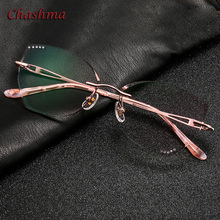 Cat Eye Glass Colored Lenses Fashion Frame Women Optical Rimless Titanium Spectacles Female with Stones