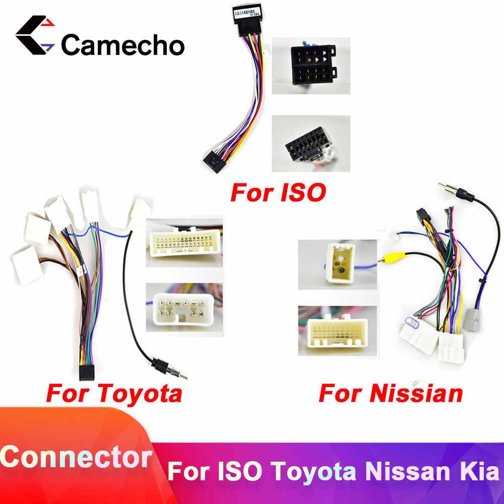 Camecho 2din Auto Android Radio Kabel Auto Accessoires Draad Adapter Connector Voor Volkswagen Iso Hyundai Kia Honda Toyota Nissan