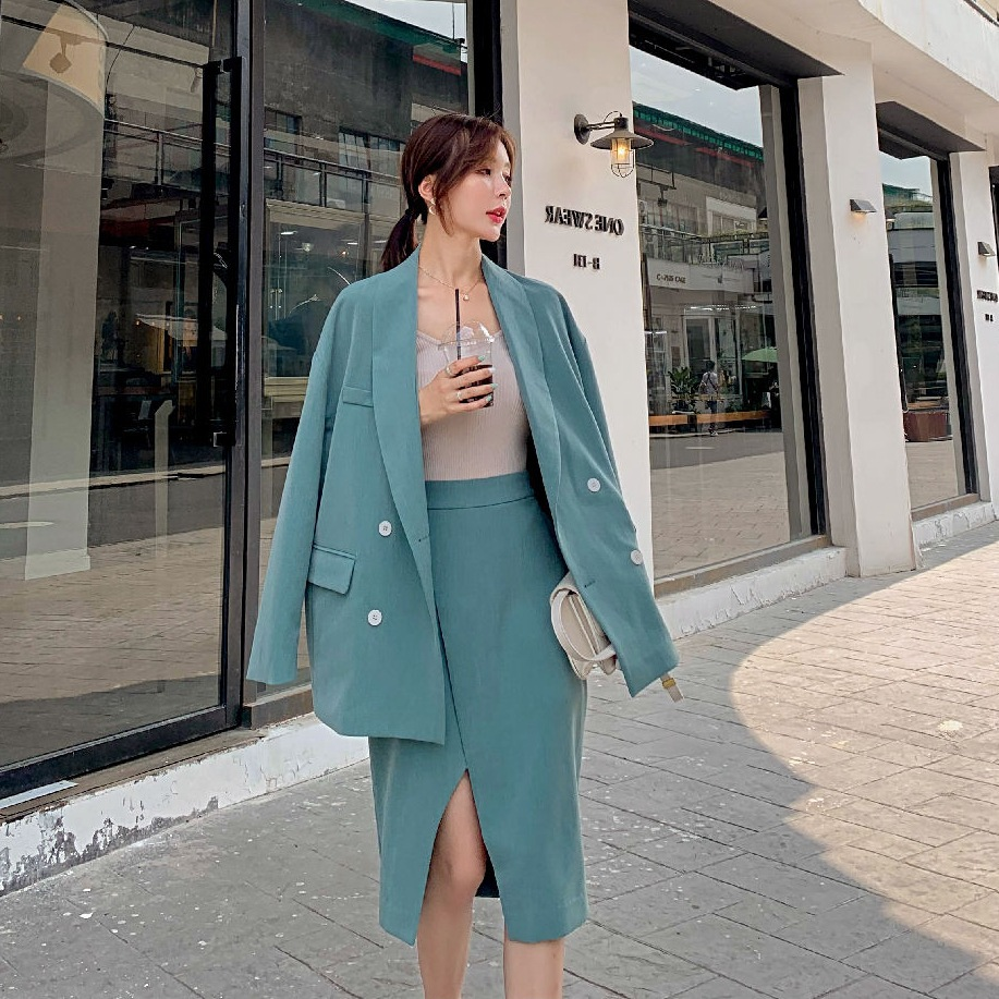 Photo Shoot CHIC Elegant Ol Emerald Fold-down Collar Double Breasted Small Suit Sense of Design Slit Skirt Two-Piece Women's