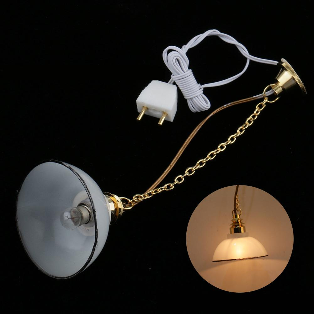 1/12 Doll House Miniature 12V LED Pendant Lamp Ceiling Light Furniture Accessory Children's Toys