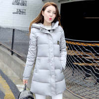 Mid-long Quilted Coats Parkas Jacket Slim Overcoats Solid Color Hooded Zipper Outerwear
