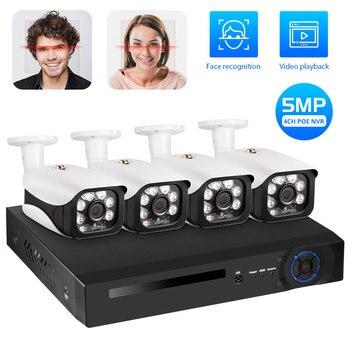 KERUI 4CH 5MP KIts de NVR de POE inalámbrico sistema de cámara de seguridad CCTV al aire libre Video vigilancia Video grabadora Kit IR-CUT registro facial