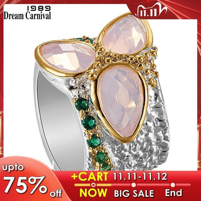 DreamCarnival 1989  Top Selling Tri Zircon Ring Two Tones Colors with Pink Zirconia Rough Surface Unique Chic Jewelry WA11736