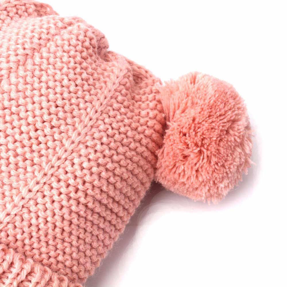 Gorro de invierno para bebés y niñas, gorro de punto para niños pequeños, con forro polar y orejeras, con pompón suave elástico para niños, sombrero cálido para 0-3Y