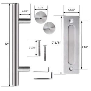 Image 4 - פחמן פלדה הזזה אסם דלת למשוך ידית עץ דלת ידית שחור ידיות דלתות הפנים ידית