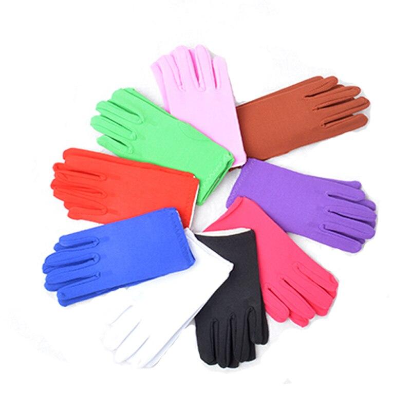 Kid Child Boy Girl Dress Gloves Short Black Red White Purple Spandex Dancing Performance Gymnastics Birthday Party Pink Gloves