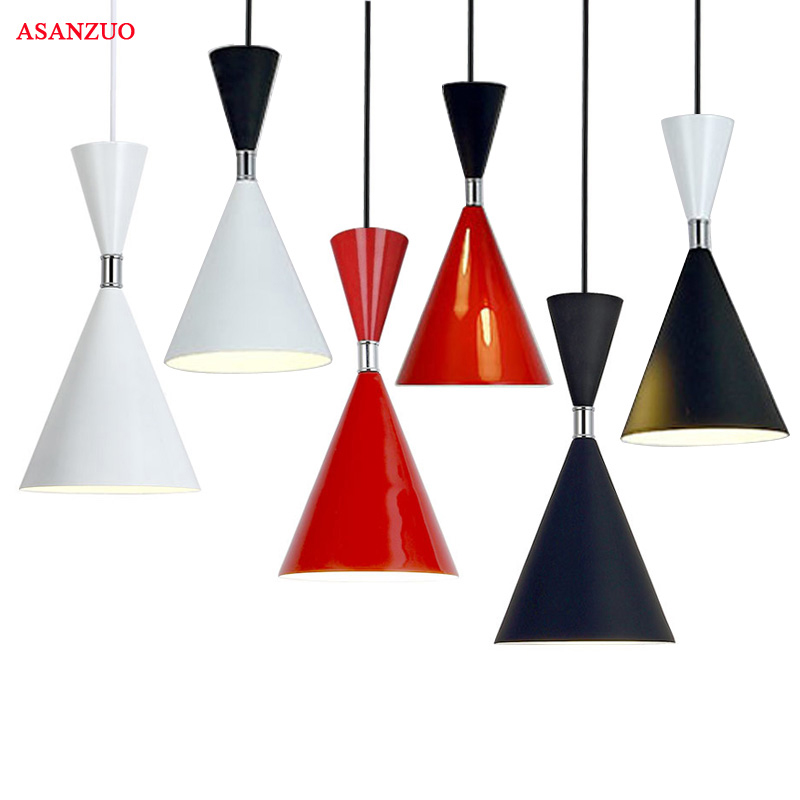 LED Pendant Lamp Black White Red Shell Color  Pendant Lights Indoor Home Decoration Modern Led Light Lighting Luminaire