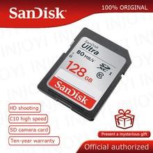 SanDisk Ultra 32GB 16GB 64GB 128GB Class 10 การ์ด SD SDHC SDXC C10 80 เมกะไบต์/วินาที carte sd สนับสนุนการตรวจสอบอย่างเป็นทางการ