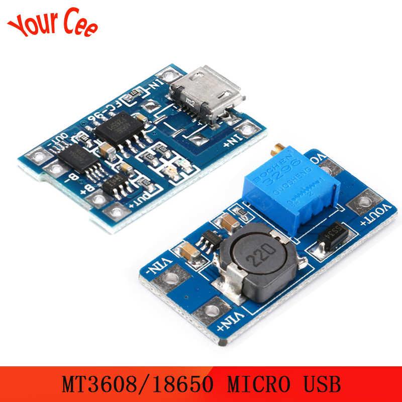 Micro USB 5V 1A 18650 TP4056 Caricatore di Batteria Al Litio Modulo di Ricarica Con Protezione + MT3608 2A DC-DC Passo up Converter