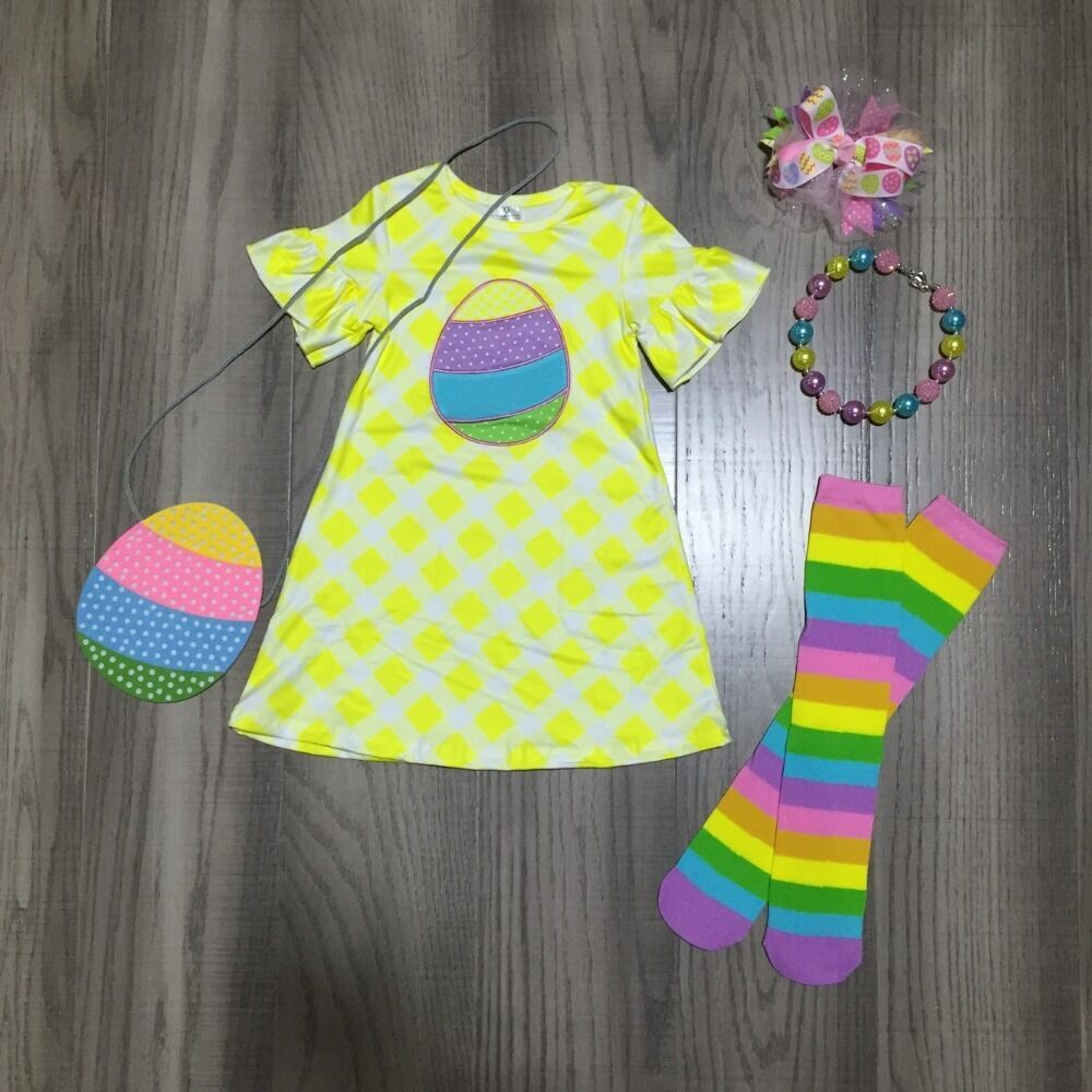 Baby Girls Easter Dress Outfits Girls Lemon Yellow Dress Matching Rainbow Purse ,stocking  And Accessories