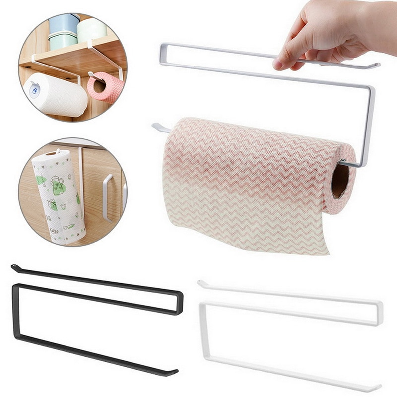 1Pair Kitchen Self-adhesive Wall Hooks Accessories Under Cabinet Paper Roll Rack