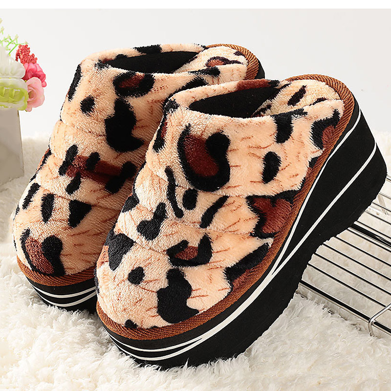 Winter Many Styles Leopard Warm Nonslip High Heels Thick Bottom Wedges Ladies Indoor Outdoor Home Shoes Big Size Cotton Shoes