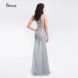 Image 2 - New Arrival Long Evening Dresses 2020 Short Sleeves with Beaded Feather Floor Length Mermaid Prom Dress scoop neck vestid