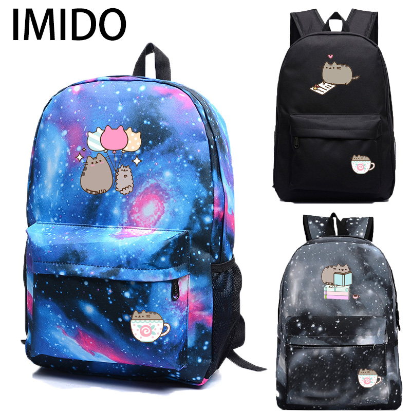 IMIDO Cute Cat Backpacks For School Girls Large Capacity Star Shoulders Backpack Teenagers Laptop Bags Multifunction Travel Bag