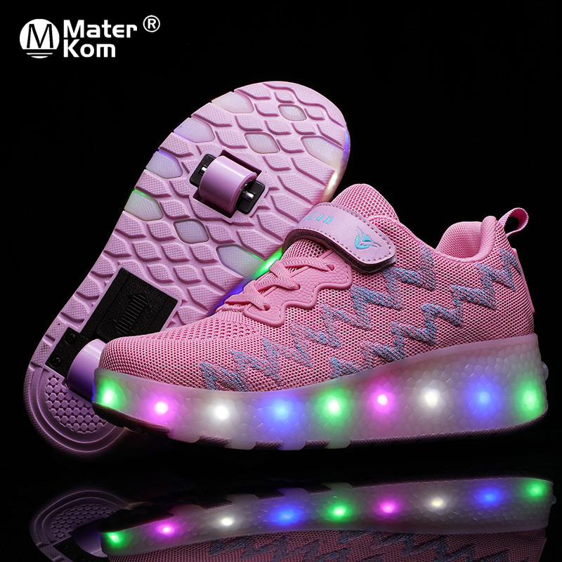 Size 28-43 Kids Glowing Roller Skate Shoes With Double Wheels For Girls Boys USB Charged Luminous Wheel Sneakers For Children