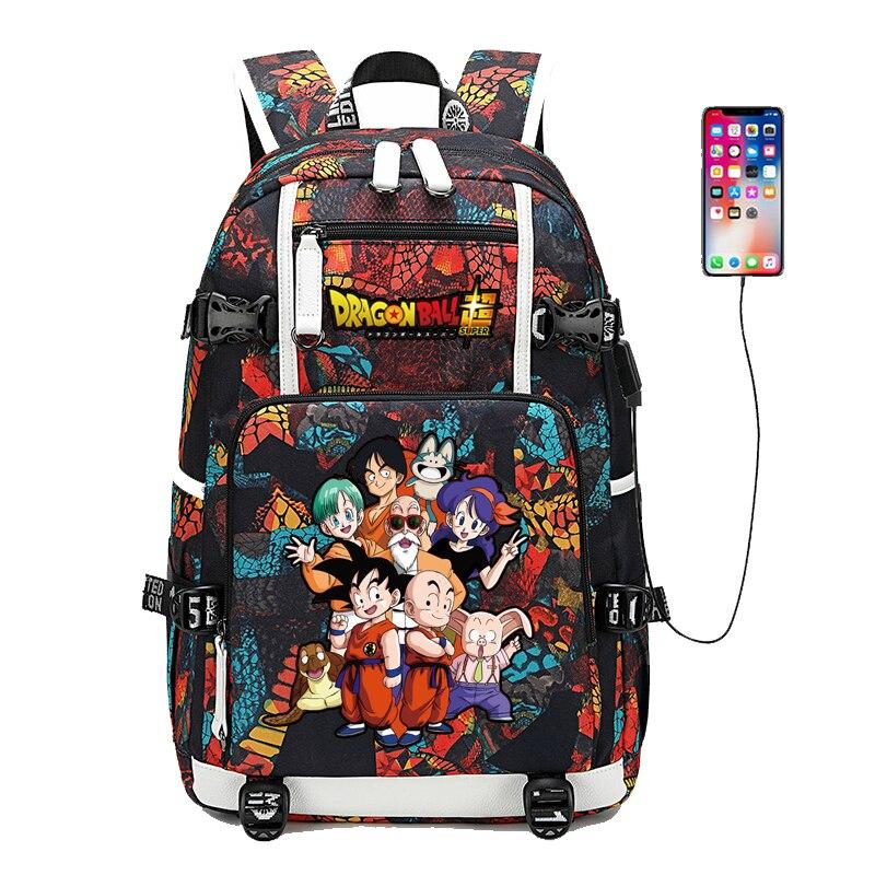 Dragon Ball Super impression sacs d'école pour les adolescentes Super Saiyan Bookbag USB charge sac à dos pour ordinateur portable sac de voyage de rue