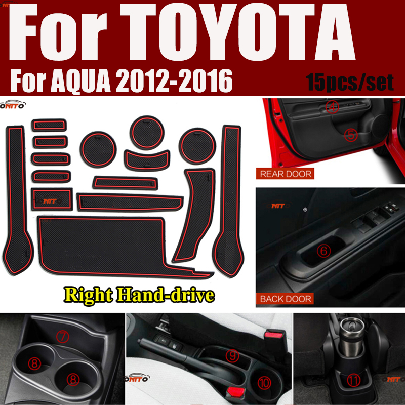 15pcs/set For Toyota AQUA 2012-2016 Right Hand-drive Anti-slip Cup Mat Cushion Door Groove Pad Car Interior Slot Gate Mat