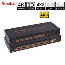 4K * 2K 60Hz HDR HDMI gerçek matris 4X2 ses çıkarıcı anahtarı Dolby ark SPDIF EDID 4 In 2 Out HDMI dönüştürücü Switcher Splitter