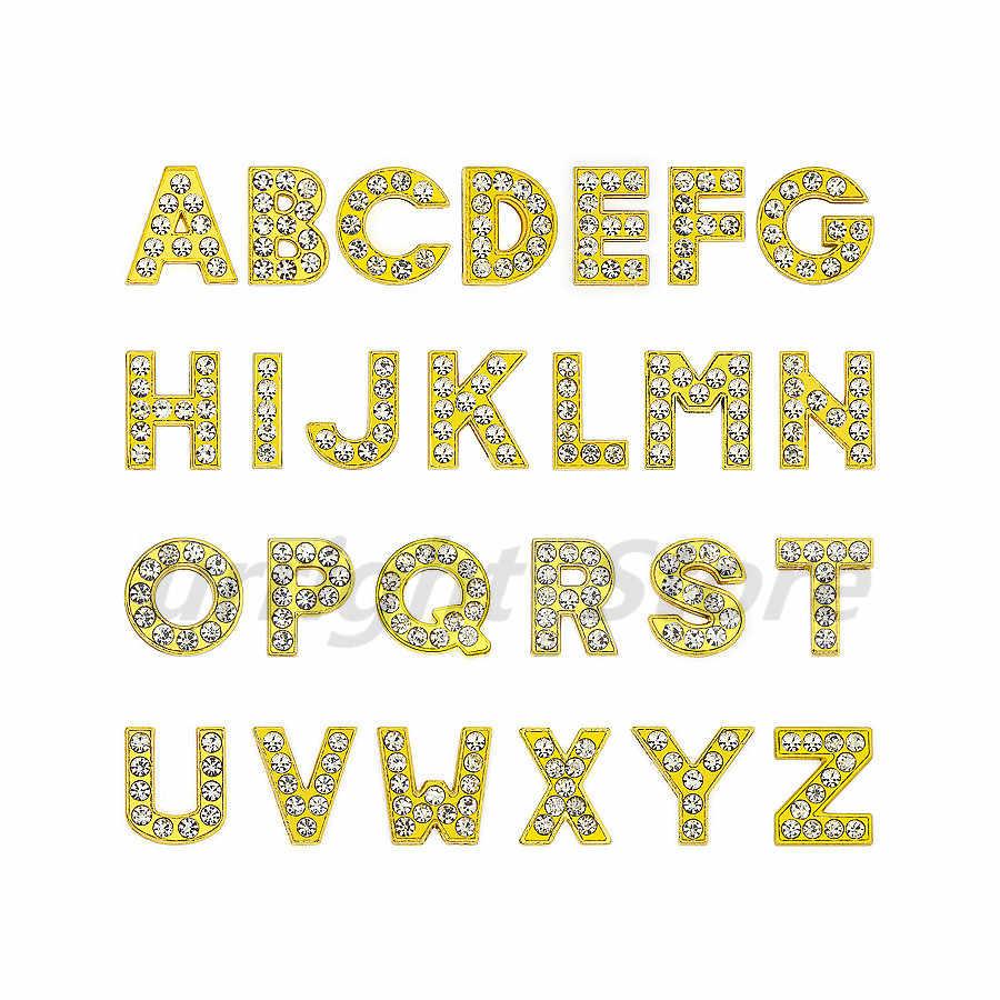 1pc A-Z ゴールドラインストーン英語の手紙アルファベット内部径: 8 ミリメートルスライドレターチャームフィット DIY キーチェーンブレスレット首輪