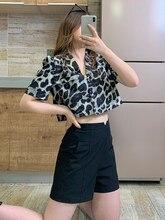 New Short Sleeve Leopard Print Women's Summer Loose Slim French Retro Bubble Sleeve Fashion Tops Sexy Korean Style Stylish
