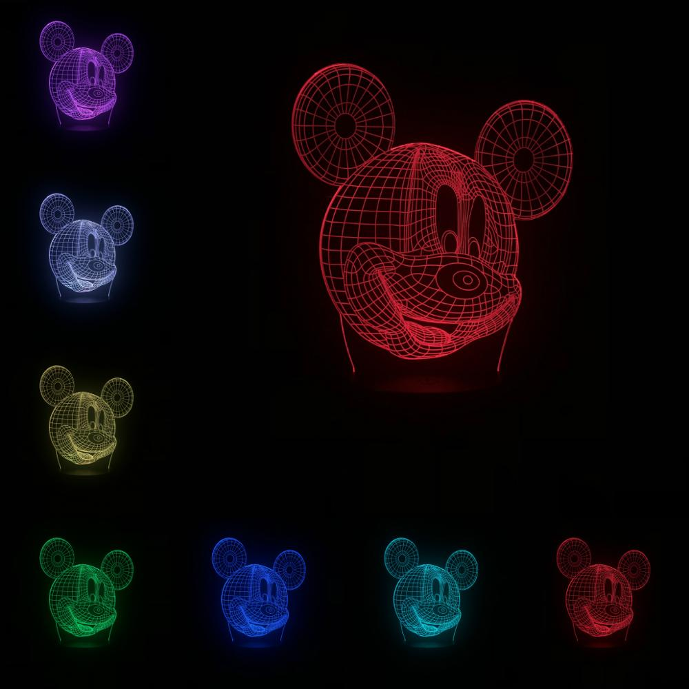 Kawaii Mickey Mouse Head 3D Lamp LED USB Mood Kid Toy Cartoon Children's Night Light Colorful Luminaria Chirstmas Gift Lampara