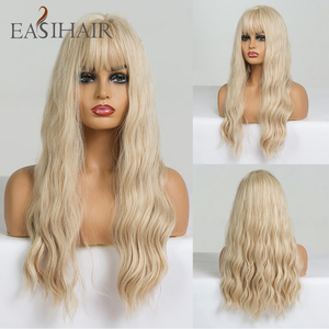 Image 1 - EASIHAIR Long Vanilla Blonde Wave Wigs with Bangs Synthetic Glueless Wigs For Black Women Cosplay Wigs Natural Hair Wigs